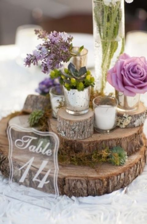 58 Inspiring And Natural Woodland Wedding Centerpieces | Woodland .
