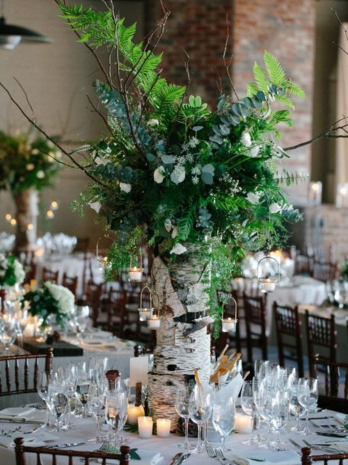 58 Inspiring And Natural Woodland Wedding Centerpieces | HappyWedd.c