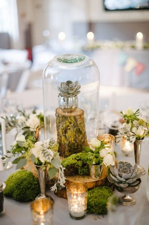 Natural Woodland Wedding Centerpieces