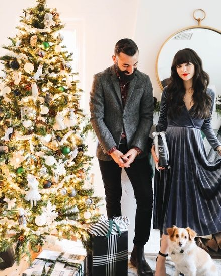 Holiday couples outfits - holiday party looks for him and her .