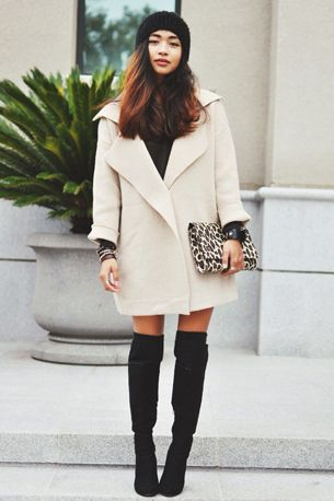 outfit overknees boots white coat black & white outfit | Weekly .