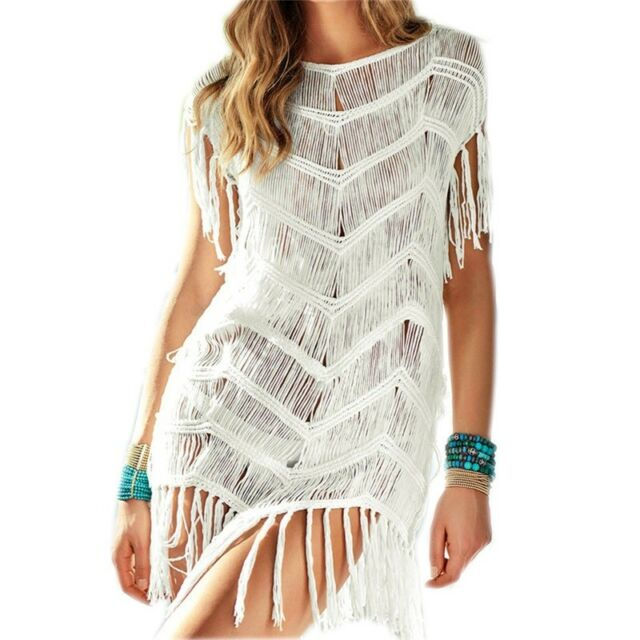 Women Bikini Cover Up Short Sleeve Bathing Dress Transparent .