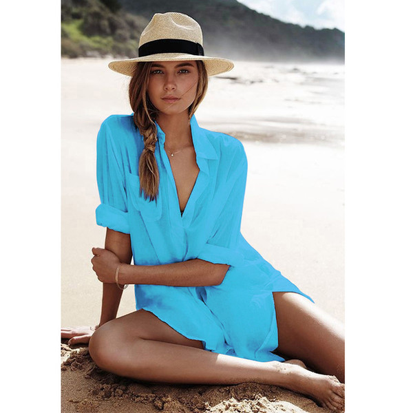 Bikini Beach Dress Tunic Pareos For Women Kaftan 2018 New Cotton .
