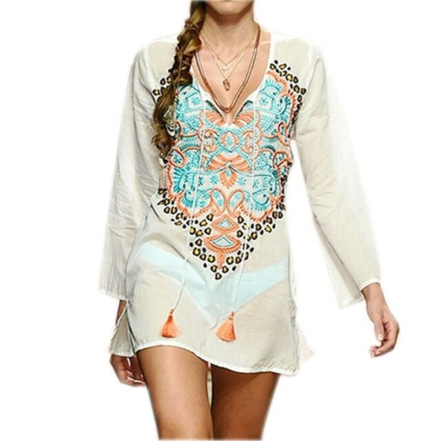 Women Bikini Cover Up Multicolored Embroidery Beach Pareos Fashion .