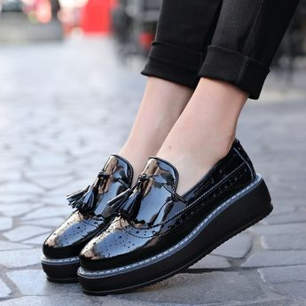 High Quality women Oxford Flats Platform shoes Patent Leather .