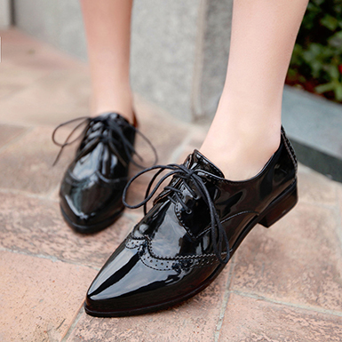 Women's Patent Leather Wingtips - Pointed Toes / Matching Laces .