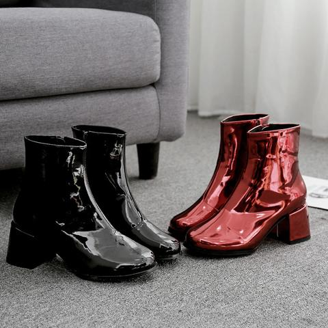 Women Ankle Boots Fashion Patent Leather Round Toe Short Boot .