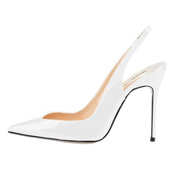 Women's Elastic Slingback Heels Pumps Shoes - White Patent .