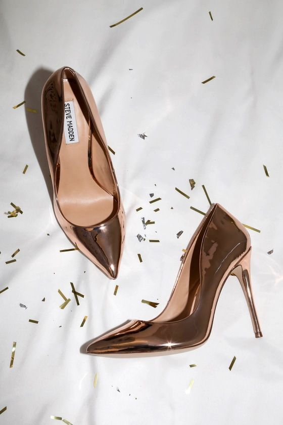 Daisie Rose Gold Patent Pumps | Rose gold pumps, Heels, Gold pum