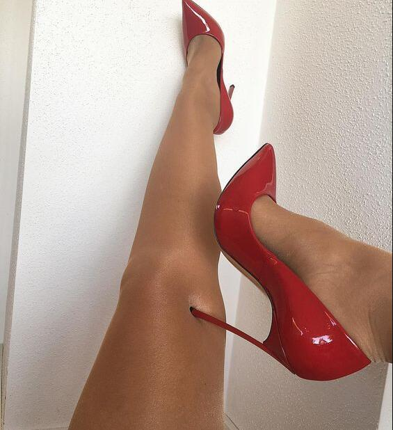Hot Selling Red Patent Leather High Heel Pumps 12CM Pointed Toe .