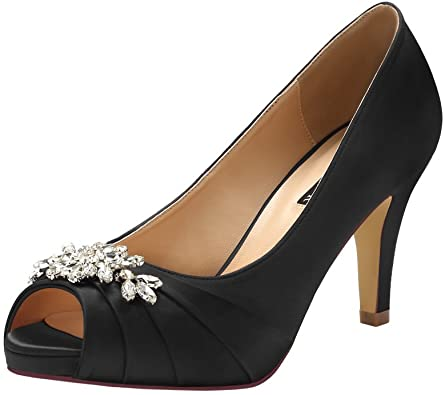 Amazon.com | ERIJUNOR Peep Toe Mid Heels for Woman Rhinestones .