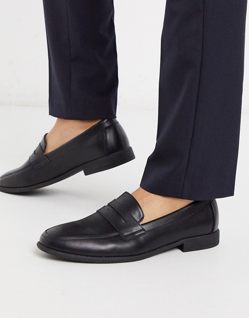 New Look PU penny loafer in black | AS