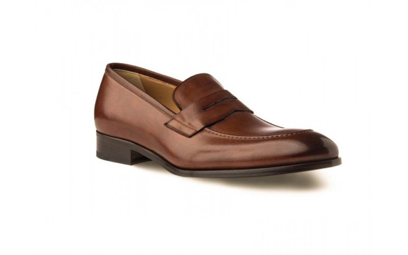Penny Loafer Shoes in Cognac Antique Italian Leath