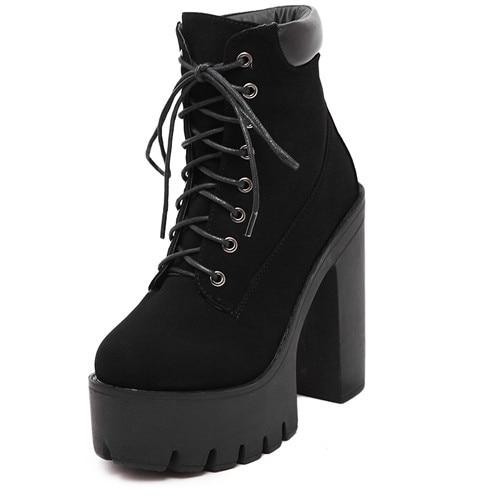 Gdgydh Fashion Spring Autumn Platform Ankle Boots Women Lace Up .