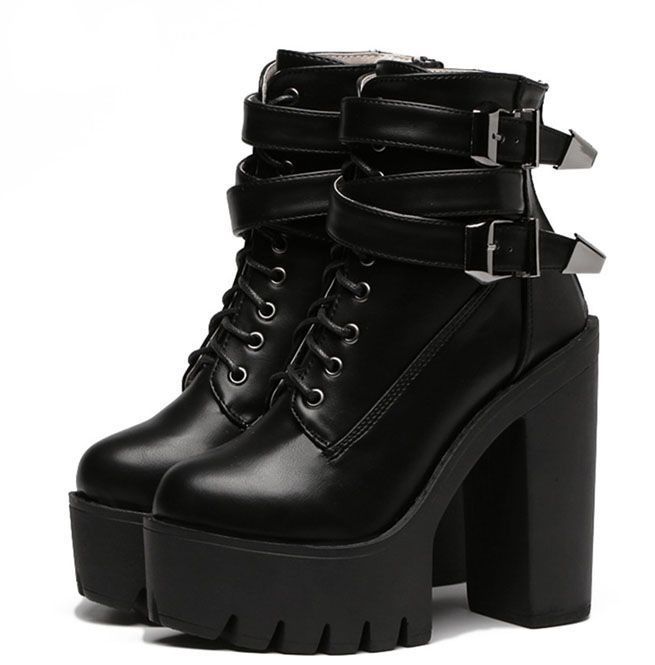 High Heels Platform Lace Up Buckle Leather Women Boots | RebelsMark