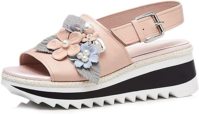 Amazon.com | Cow Leather Wedge Sandals Women Sweet Flower Pearl .