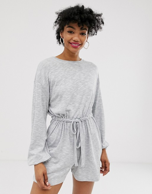 ASOS DESIGN slouchy button back long sleeve playsuit | AS
