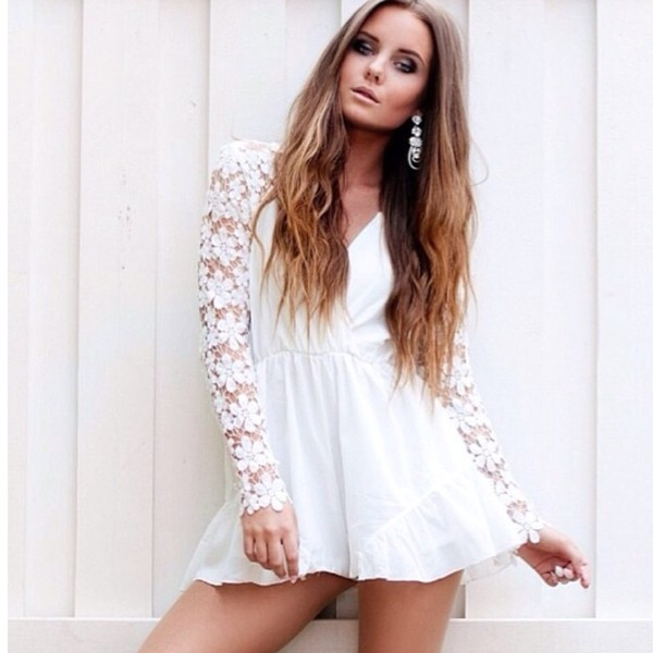 Daisy Sleeve White Playsuit - MyCelebrityDress.c