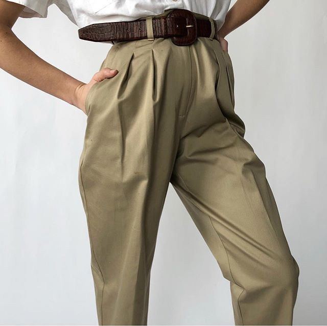 "SOLD OUT Vintage khaki 100% cotton high-waisted (13.5"" rise ."