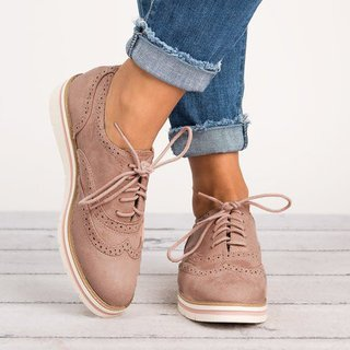 Women's Lace Up Perforated Oxfords Shoes Plus Size Casual Shoes .