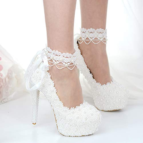 Amazon.com: Plus size high heel white pearls wedding shoes woman .