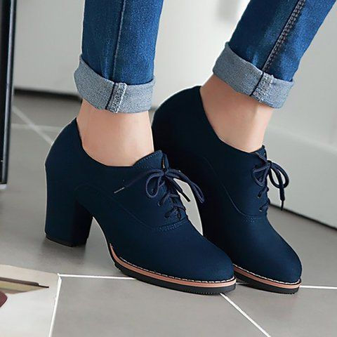 Women's Shoes,Heel,Women Artificial Suede Chunky Heel Oxford .