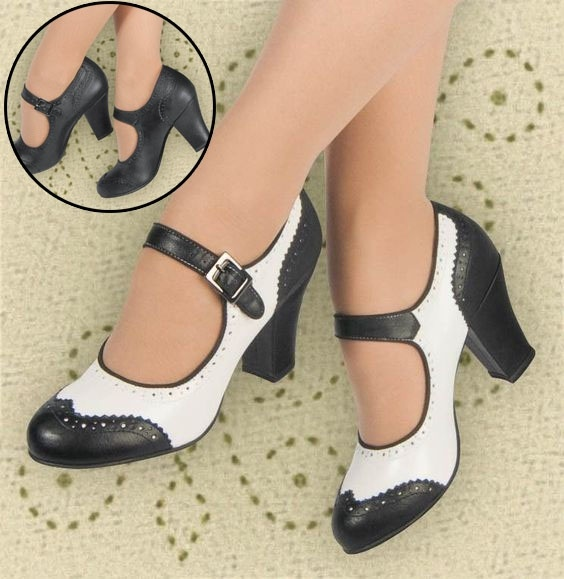 Women Plus Size Mary Jane Dance Shoes Low Heel Ladies Vintage .