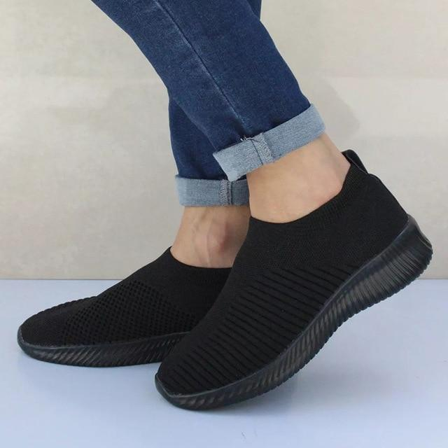 Plus Size Shoes Women Casual Knitting Sock Sneakers Stretch Flat .