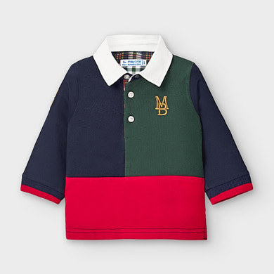 Long sleeved polo shirt baby boy Spanish fir | Mayoral