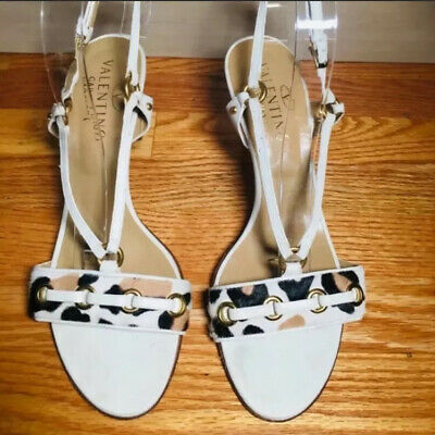 Valentino Ivory Leather And Leopard Print Pony Heels, 40, 9 | eB