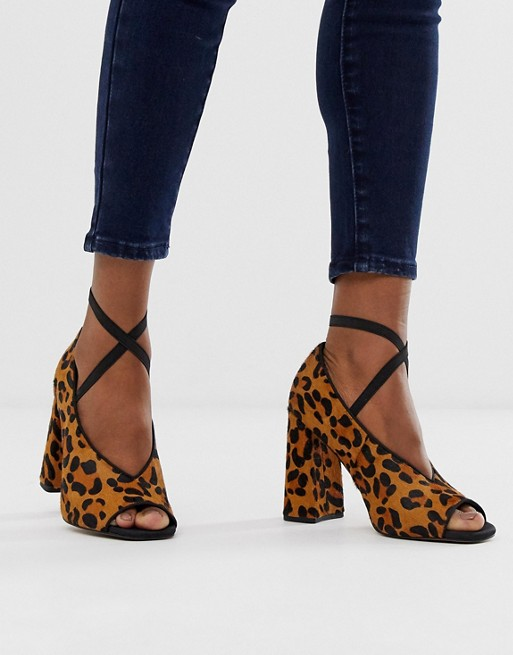 ASOS DESIGN Peyton premium leather high heels in leopard pony | AS