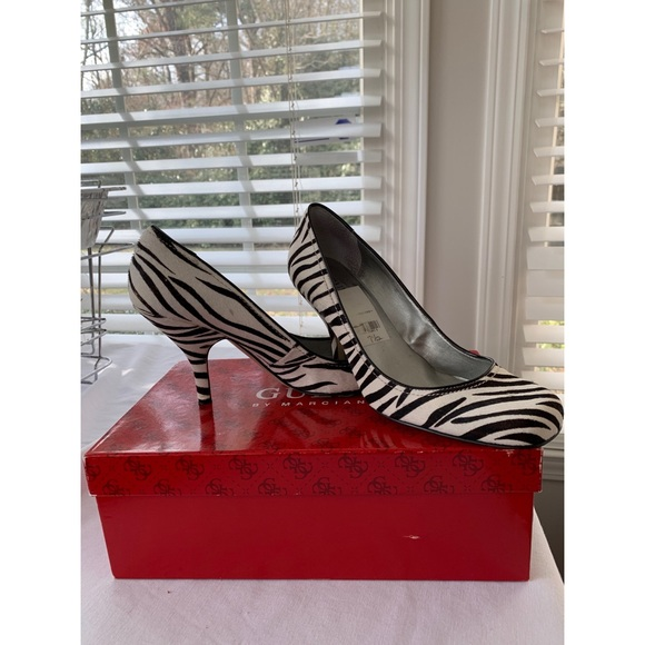 Guess by Marciano Shoes | Black And White Multi Pony Heels | Poshma
