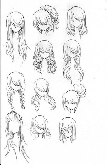 Different hair sketches, pretty hairstyle ideas beautiful hair .
