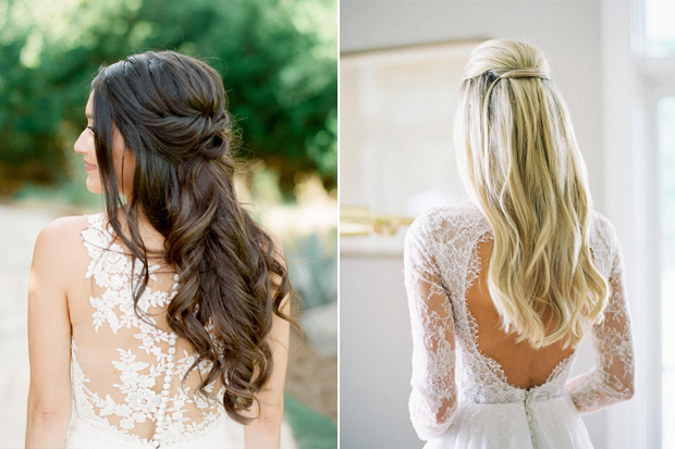 Pretty Half Up And Down Hair Style For Wedding