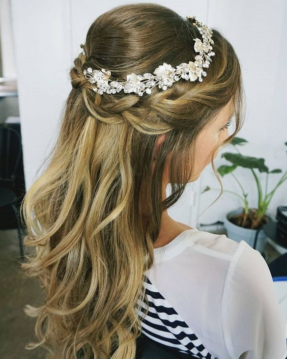 32 Pretty Half up half down hairstyles – partial updo wedding .