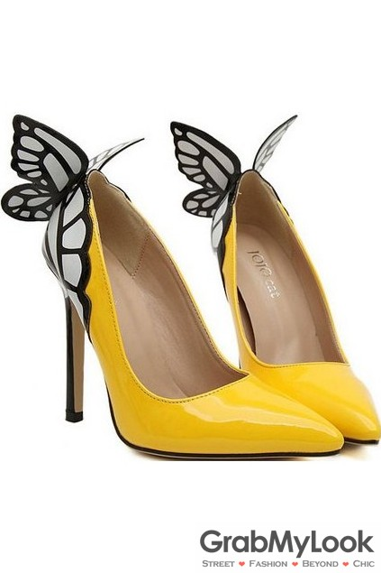 Yellow Patent Leather Butterfly Back Stiletto High Heels Women .
