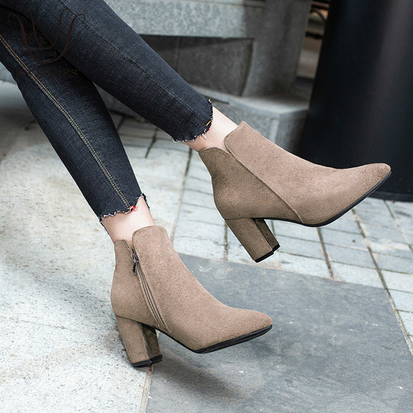 Buy 2018 Autumn Spring Women Shoes Chunky Heel Suede Fashion Pumps .