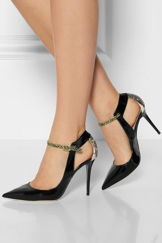 FSJshoes Womens - FSJ Shoes Black Stiletto Heels Pointy Toe Python .