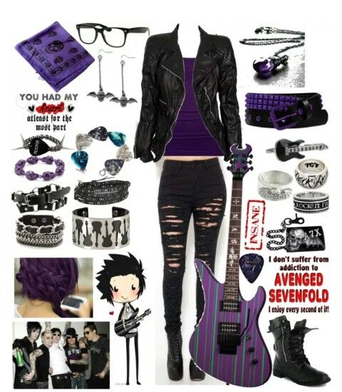 Purple & black | Pop punk fashion, Gothic outfits, Punk outfi