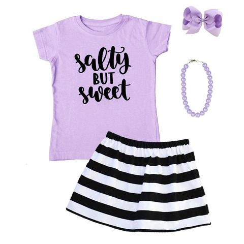 Salty But Sweet Outfit Black Stripe Purple – Upon A Bowtiq