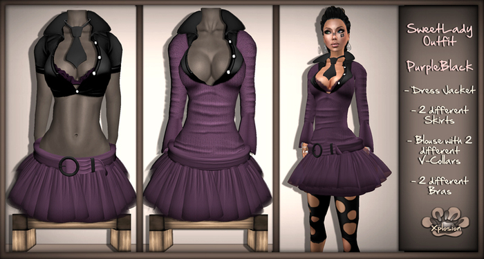 Second Life Marketplace - *X*plosion SweetLady Outfit (Purple/Blac