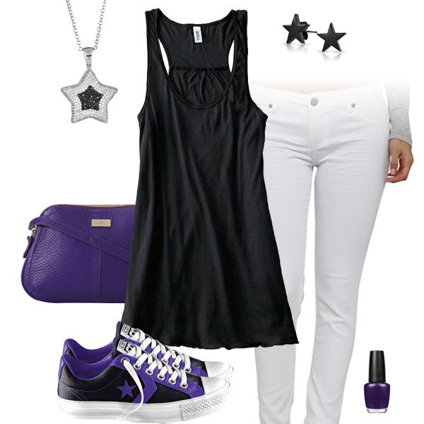 Cute Black, White & Purple Outfit with Converse All Stars | Purple .