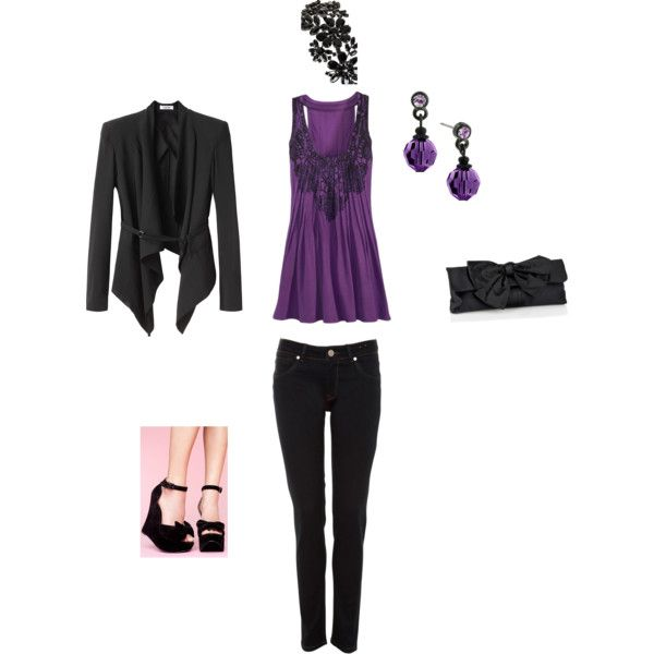 purple and black outfits