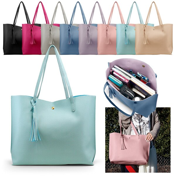 Women Tote Bag Tassels Leather Shoulder Handbags Fashion Ladies .