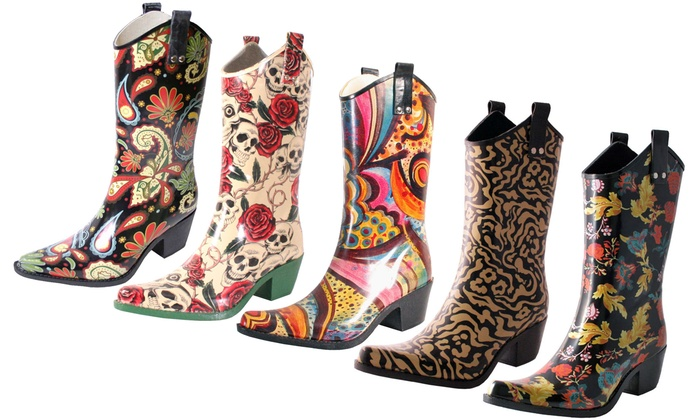 Up To 26% Off on Women's Cowboy Rubber Rain Boot | Groupon Goo