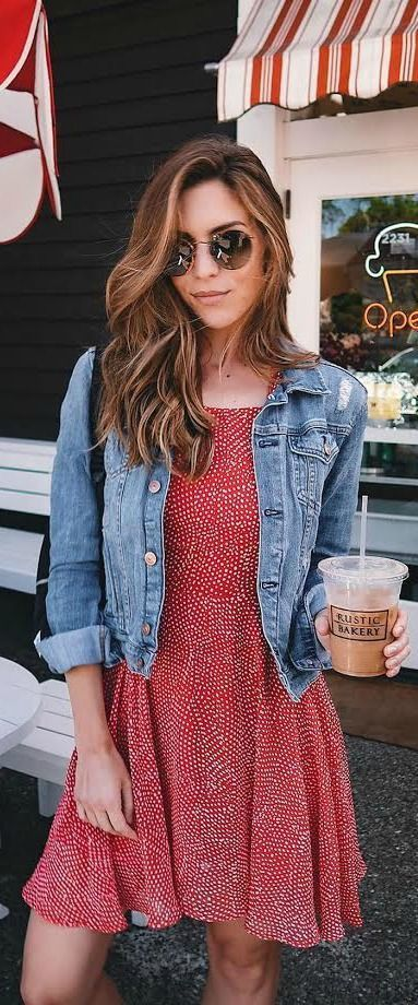15 The Red Denim Dress Ideas You Must Have | Fashion, Style, Cloth