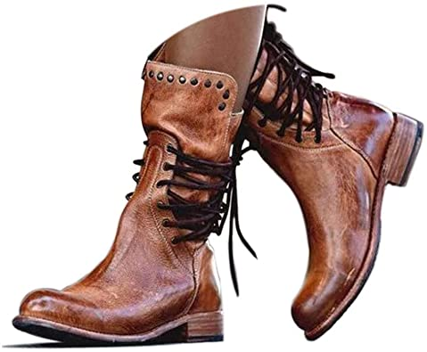 Amazon.com | Women's Riding Boots Middle Calf Boots Booties Retro .