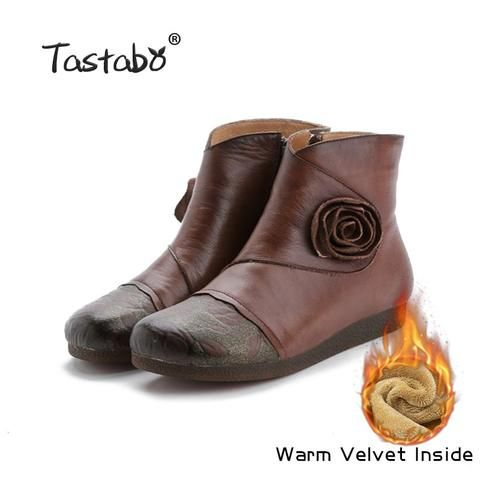Tastabo Flower Handmade Ankle Boots With Fur Retro Boots Shoes .