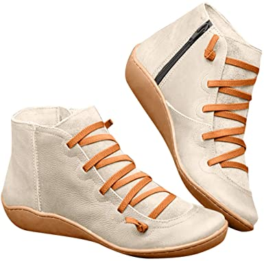 Amazon.com: cobcob Womens Zipper Boots,Ladies Retro PU Leather .