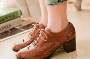 Women Retro Stylish Brogues Lace Up Shoes Womens Oxford Chunky .